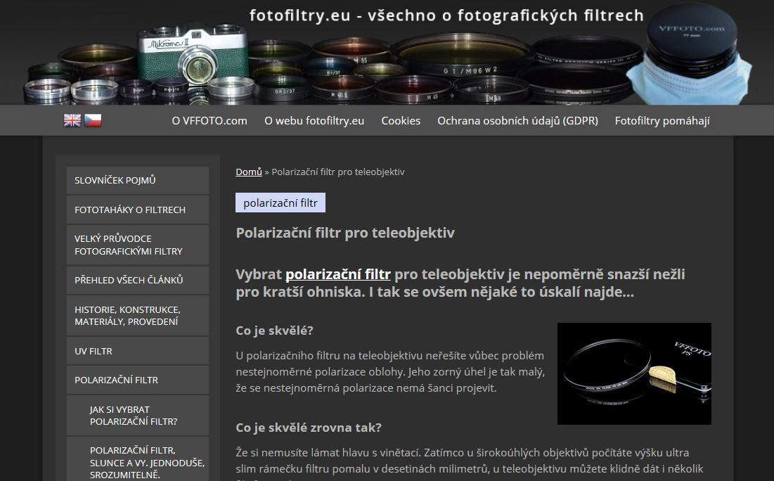 článek VFFOTO - polarizační filtr pro teleobjektivy